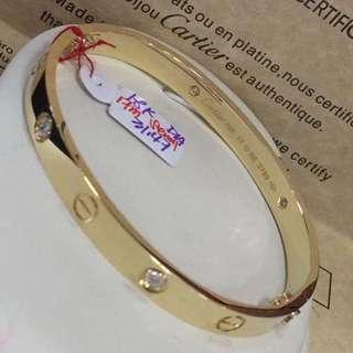 18K|750 Cartier 4 Diamonds Love Bangle Bracelet Genuine Gold