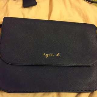 Agnis b藍色斜背包 全新未使用