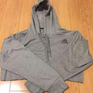 Adidas Cropped Grey Hoodie