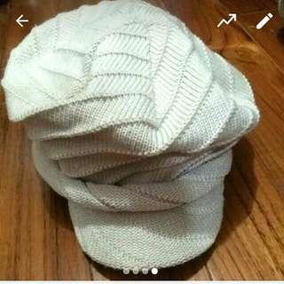 米白色鴨舌針織軟帽/貝雷帽/毛帽/帽子