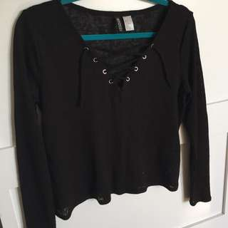 Black Long Sleeve V-neck Cross String Tie Top