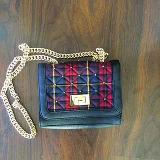 Plaid Purse With Gold Chain