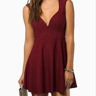Tobi Burgundy Skater Dress