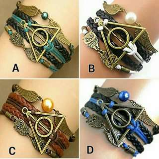 3-layers Multi-braided Deathly Hallows Bracelet Antique Bronze And Silver