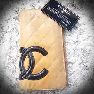 Authentic Vintage Chanel Beige Lambskin Wallet Comes With Authenticity Card