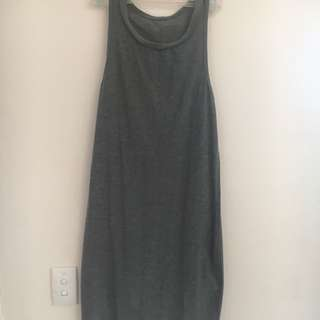 Grey Plain Muscle Maxi Dress