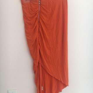 Orange Paper Scissors Split Skirt