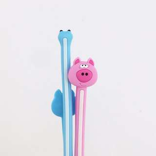 Brand New Sealed in Box Cute Animal Bendable Cable Tie - A Pair of Blue & Pink Pigs