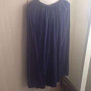 藍色棉麻長裙