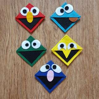 Handmade Felt Elmo,Cookies Monster,Oscar the Grouch,Big Bird &Gover Corner Bookmark (Sesame Street Character)