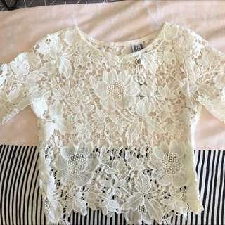 White Lace/Crochet Festival Top