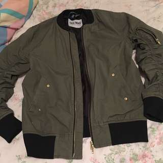 H&M Bomber Jacket In Olive Green