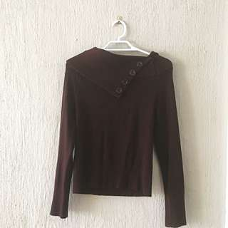 Brown Long Sleeve Top Knit Size 6