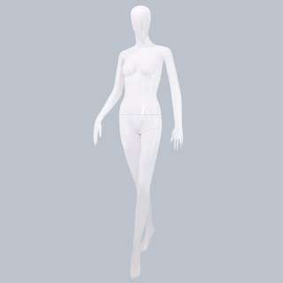 Faceless female standing glossy mannequin with tempered glass stand (F18G EVE)
