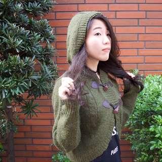 MatsuMi日系墨綠針織連帽外套