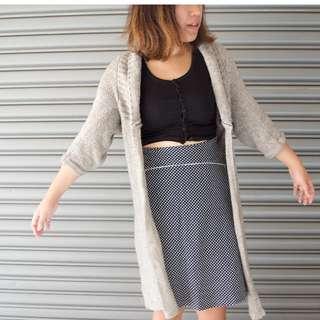 灰色針織長版外套