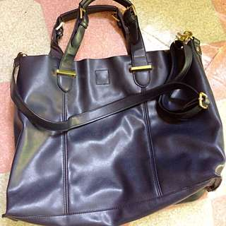 Navy Blue Leather Bag Repriced