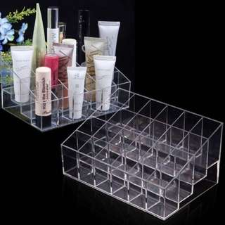 Price Dropped!!!!Clear Acrylic 24 Lipstick Holder Display Stand Cosmetic Organizer Makeup Case