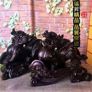 招財 開運 貔貅 天然黑檀木材 黑檀 雕刻 木雕 風水擺件 開業 送禮