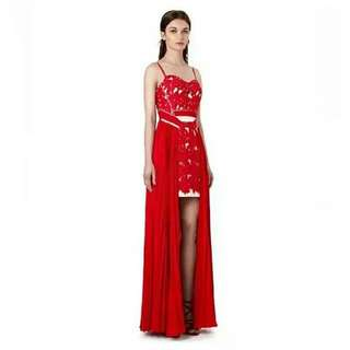 Self portrait red lace crochet sleeveless chiffon dinner dress prom evening party