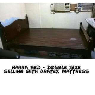 Repriced Vintage Narra bed with Ivory (Buto) Inlay