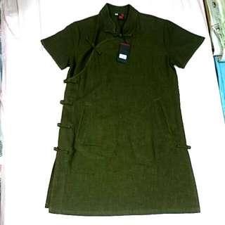 中國風短袖口袋洋裝
