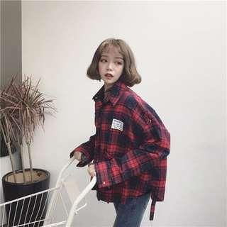[預購]格子襯衫外套