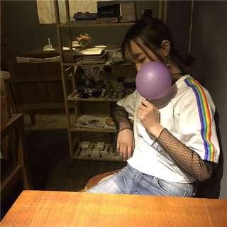 [預購]彩虹條紋短袖