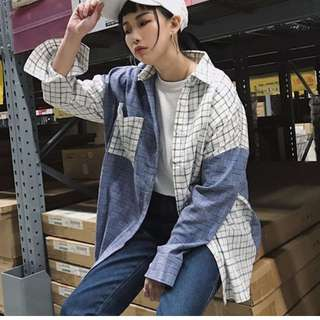 [預購]拼色格子長袖襯衣