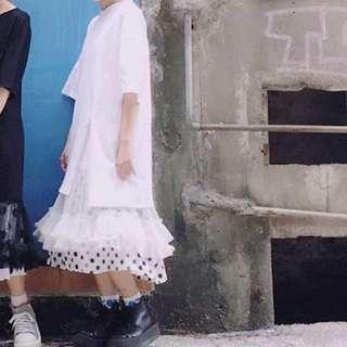 短袖白紗裙