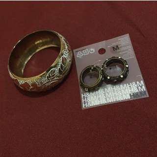 H&M Rings and Gold Bangle set