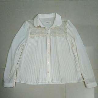 正韓雪紡蕾絲襯衫