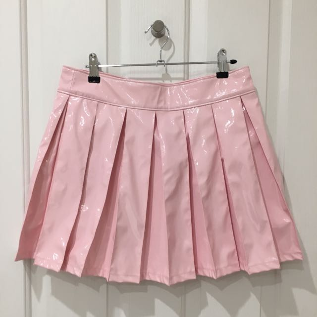 24HRS Baby Pink Vinyl Mini Skirt