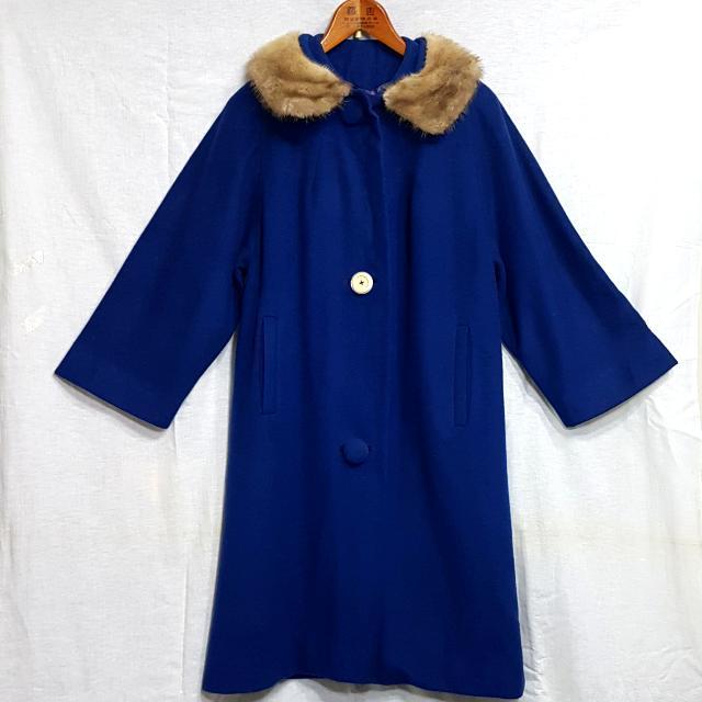 【超狂小阿姨】皮草領寶藍大衣 #運費我來出