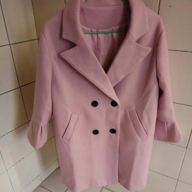 粉色 喇叭袖 大衣