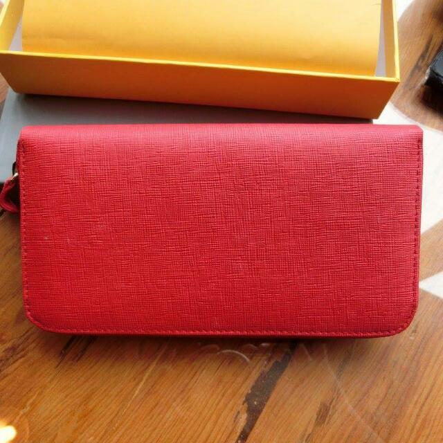 紅色真皮長型皮夾