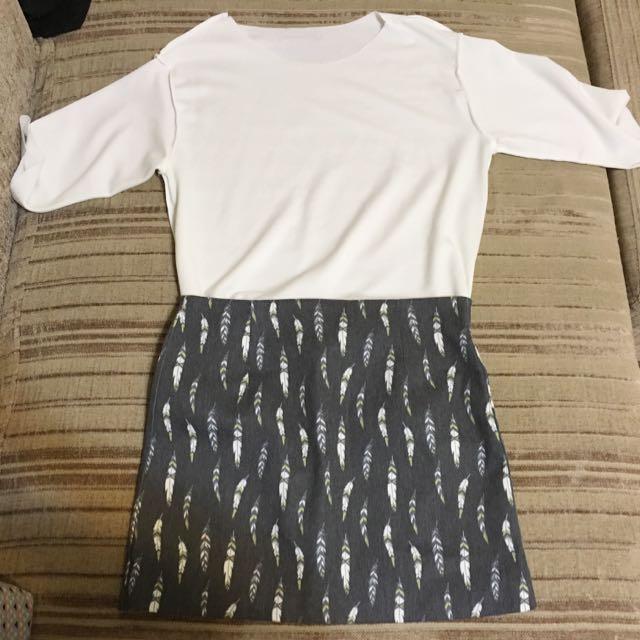 羽毛 窄裙