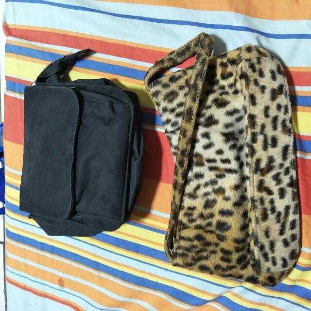 黑色腰包 豹紋手提包