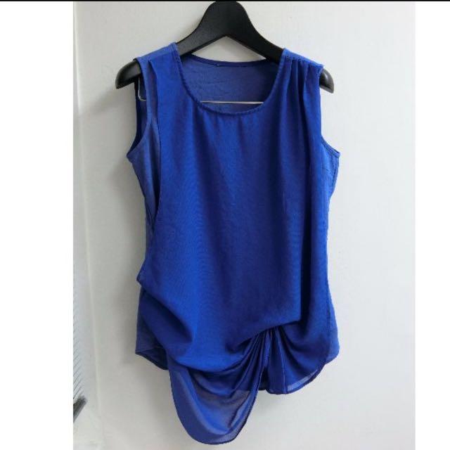 寶藍 專櫃 雪紡假兩件式 背心