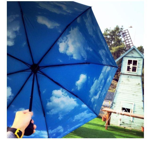 傘下有晴天* 晴雨傘 藍天白雲傘  黑膠 防曬