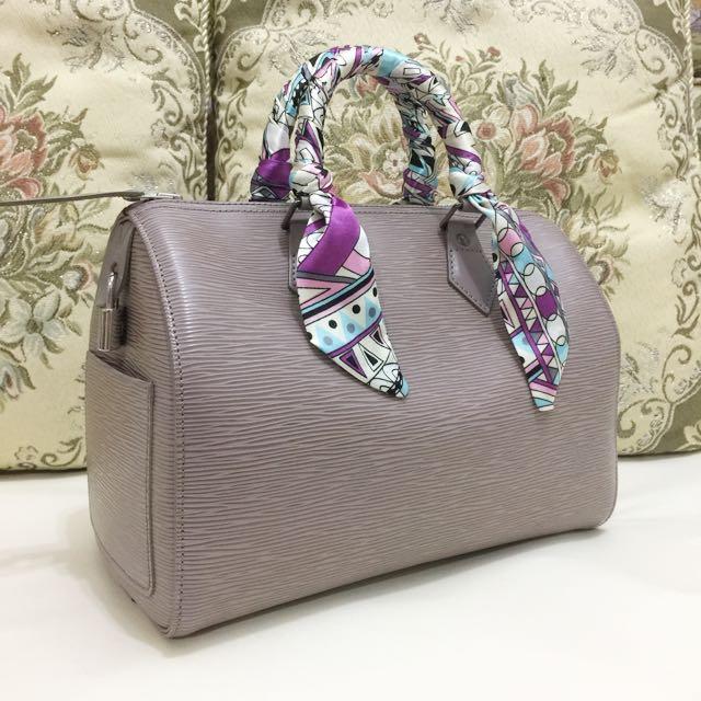 正品 LV Speedy 25 包 水波紋紫藕色手提包