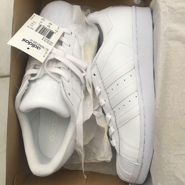 All White Adidas Superstars - Brand New