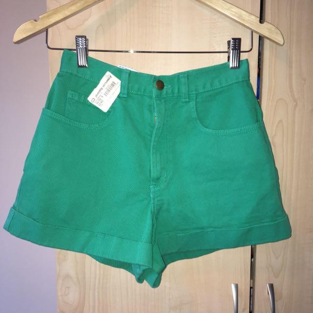 American Apparel Denim High Waisted Cuff Shorts