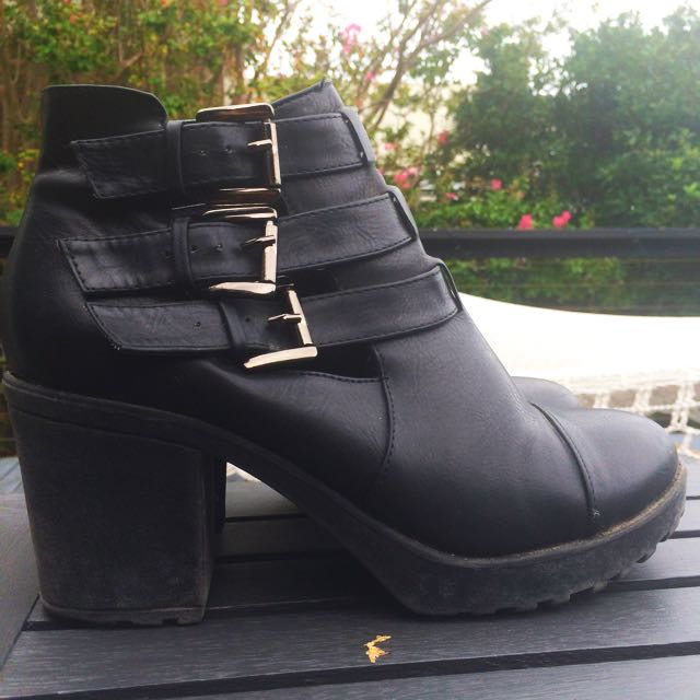 ASOS Leather Boots With Buckle