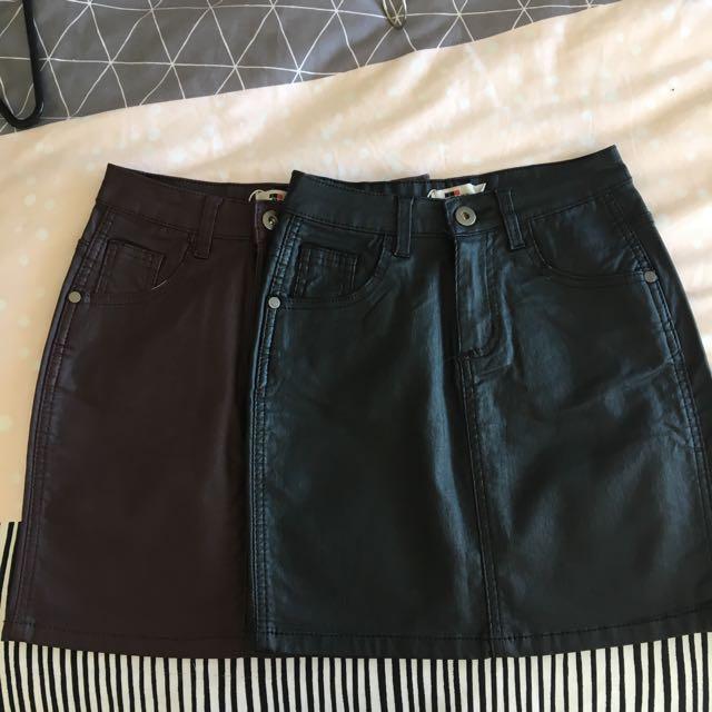 Black and Maroon Mini Skirts