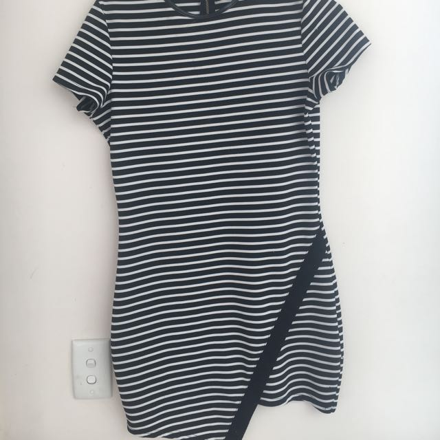 Black And White Stripey Paper Lowey Dress