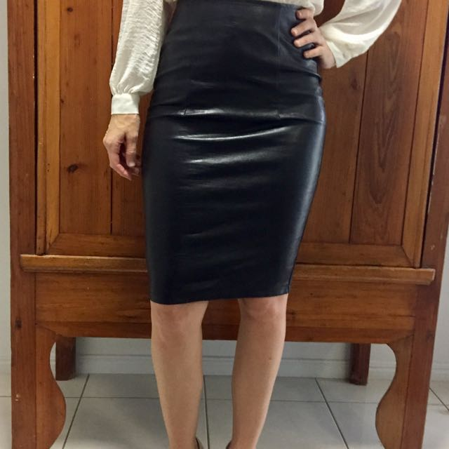 Black Faux Leather Skirt Size 8