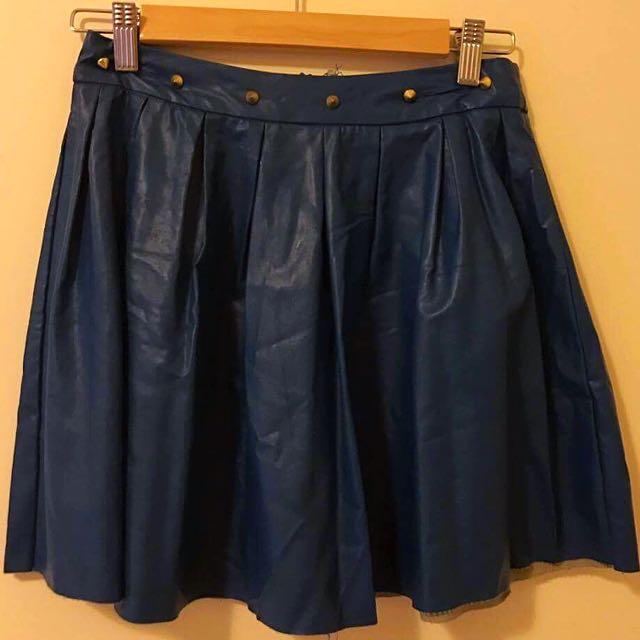 Blue Studded Skater Skirt