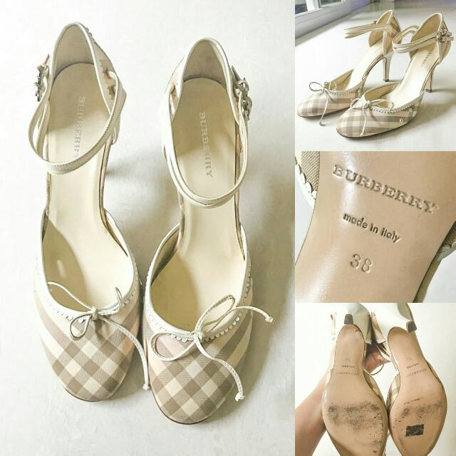 Authentic Burberry 9cm Soft Pink Checkered Pumps