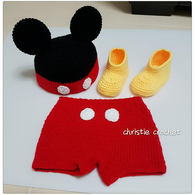 Crochet Baby Mickey Mouse Outfit 3 Pcs Babies Kids Babies